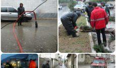 امداد رسانی به شهروندان در اثر وزش شدید باد و باران