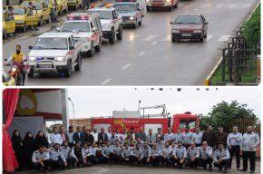 رژه خودرویی به مناسبت ۷ مهر روز ایمنی و اتش نشانی