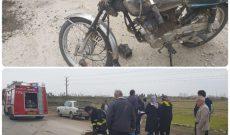 برخورد موتورسیکلت با خودروی سمند