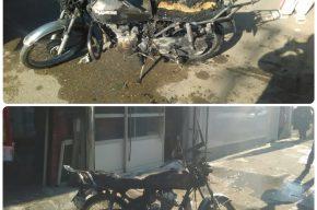 آتش سوزی یکدستگاه موتورسیکلت