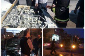 آتش سوزی خودروی تاکسی و پیکان وانت