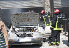 آتش سوزی خودروی پراید