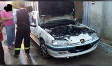 آتش سوزی خودروی پژو پارس