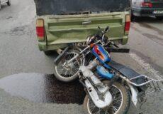 تصادف موتورسیکلت با وانت مزدا