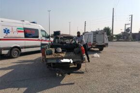 حادثه برخورد خودروی مزدا با بلوار